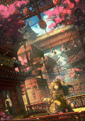 1girl architecture bespin blush bridge brown_hair building cherry_blossoms cloud curtains dutch_angle east_asian_architecture fantasy green_eyes hat highres lantern long_hair looking_up open_mouth origianl paper_lantern petals sky smile tree watermark