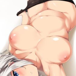 1girl areolae artist_name black_legwear blue_eyes blush breasts hamakaze_(kantai_collection) head_out_of_frame highres kantai_collection large_breasts looking_at_viewer looking_back lying moisture_(chichi) navel nipples on_back pantyhose pantyhose_pull parted_lips plump shiny shiny_skin short_hair silver_hair simple_background solo
