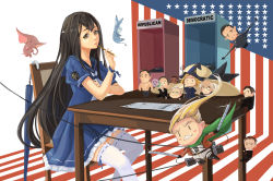 2girls 6+boys age_difference airplane america american_flag annotated bald bangs belt ben_carson bernie_sanders black_hair blonde_hair blue_dress blush_stickers borrowed_character bottle brown_eyes character_request chibi chris_christie closed_mouth commentary cosplay dark_skin donald_trump donkey dress earrings elephant emblem eyebrows fairy_(kantai_collection) fighter_jet floating_hair flying formal frills from_side glasses glint grin hat hat_removed headwear_removed highres hillary_clinton holding jacket jeb_bush jet jewelry kantai_collection long_hair looking_at_viewer marco_rubio mole mole_under_eye multiple_boys multiple_girls muscle neckerchief old_man open_clothes open_jacket original parody pencil personification real_life ribbon-trimmed_legwear ribbon_trim robe sailor_collar sailor_dress school_uniform serafuku shingeki_no_kyojin shirtless short_sleeves sima_naoteng sitting smile staff star_print suit table ted_cruz thick_eyebrows thighhighs three-dimensional_maneuver_gear umbrella uss_iowa_(bb-61) very_long_hair water_bottle white_hair white_legwear wizard_hat zettai_ryouiki |_|
