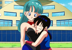 2girls aqua_hair arm bare_arms bare_shoulders black_hair black_leotard blue_eyes breasts bulma bunnysuit chichi cleavage closed_mouth dicasty dragon_ball dragonball_z eyes_closed female grin hourglass_figure hug human leotard lipstick long_hair makeup milf multiple_girls neck outdoors parted_lips sleeveless smile standing strapless strapless_leotard voluptuous yuri