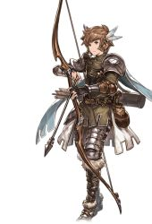1boy alpha_transparency arrow bow_(weapon) brown_eyes brown_hair drawing_bow feathers full_body gran_(granblue_fantasy) granblue_fantasy hair_feathers male_focus minaba_hideo official_art pouch quiver ranger_(granblue_fantasy) short_hair solo transparent_background weapon