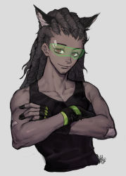 1boy animal_ears bandaid bandaid_on_arm bandaid_on_forehead bare_shoulders black_gloves closed_mouth cropped_torso crossed_arms dark_skin dark_skinned_male facial_hair fan_ju fingerless_gloves gloves hairlocs highres kemonomimi_mode long_hair looking_at_viewer lucio_(overwatch) male_focus overwatch red_eyes signature sketch smile solo stubble tank_top visor