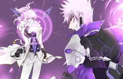 2boys add_(elsword) chains elsword energy grin hand_in_pocket jacket long_hair male multiple_boys pants ponytail purple_background purple_eyes smile standing whalebrother white_hair
