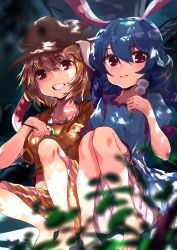 2girls asuzemu bangs barefoot blonde_hair bloomers blue_dress blue_hair blurry blush breasts brown_hat dango dappled_sunlight day depth_of_field dress ears_down eating food frilled_sleeves frills grass grin hair_between_eyes hat knees_together_feet_apart legs looking_at_viewer low_twintails midriff multiple_girls red_eyes ringo_(touhou) seiran_(touhou) shiny shiny_hair short_sleeves shorts side-by-side sitting small_breasts smile striped striped_shorts sunlight touhou tree twintails underwear wagashi yellow_shorts