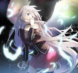1girl alexmaster blue_eyes choker feathers highres ia_(vocaloid) long_hair skirt solo star thighhighs vocaloid white_hair wings zettai_ryouiki