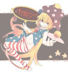1girl aki_maki_yuu american_flag_legwear american_flag_shirt blonde_hair clownpiece dutch_angle english fairy_wings full_body grin hat jester_cap long_hair looking_at_viewer midriff navel no_panties pantyhose pantyhose_pull red_eyes short_sleeves smile solo star striped text touhou v very_long_hair wings