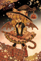 1girl adapted_costume bat_wings black_legwear blonde_hair boots bow braid brown_boots candy candy_cane clothes_writing crescent_moon dress fang frills ghost halloween happy_halloween hat hat_bow holding jaack jewelry kirisame_marisa long_hair long_sleeves looking_at_viewer moon necklace open_mouth orange_eyes outline pantyhose puffy_long_sleeves puffy_sleeves pumpkin single_braid skull solo star striped touhou trick_or_treat white_bow wings witch_hat