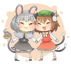 2girls :3 animal_ears basket bow brown_hair capelet cat_ears cat_tail chen chibi commentary_request dress earrings eyes_closed fang gem green_hat grey_dress grey_hair hand_holding hat ibarashiro_natou jewelry long_sleeves mob_cap mouse mouse_ears mouse_tail multiple_girls multiple_tails nazrin necklace nekomata open_mouth pendant red_dress short_hair simple_background single_earring smile socks tail touhou two_tails yellow_bow