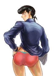 1boy afei ass black_hair boxers from_behind gakuran higashikata_jousuke jacket jojo_no_kimyou_na_bouken pompadour school_uniform solo underwear
