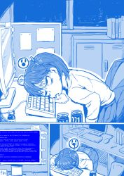 1girl 4shi artist_request blue blue_screen_of_death city cola comic computer computer_keyboard foam foaming_at_the_mouth getsuyoubi_no_tawawa highres kantai_collection monitor monochrome office parody ryuujou_(kantai_collection) solo style_parody turn_pale twintails