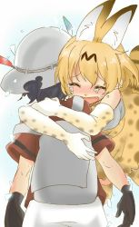 animal_ears blonde_hair bucket_hat elbow_gloves glomp gloves hat hat_feather hug kaban kemono_friends open_mouth roku_kyuu serval_(kemono_friends) serval_ears serval_print serval_tail short_hair spoilers tail tears