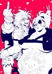 2girls bag belt belt_pouch breasts breasts_apart canteen collarbone crazy_smile explosive fang fat genderswap genderswap_(mtf) gloves grenade grin groin hair_ornament hair_tie harness high_ponytail junkrat_(overwatch) large_breasts long_hair looking_at_viewer mask mask_on_head mechanical_arm mechanical_hand medium_breasts middle_finger midriff multiple_girls navel obese one_eye_closed open_mouth overwatch peg_leg pig pig_print plump ponytail red_background roadhog_(overwatch) shards short_hair shorts simple_background single_glove smile spikes stomach stomach_tattoo strap tattoo teeth tire tongue tongue_out topless twitter_username v x_navel