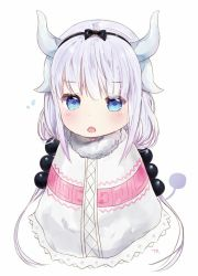 1girl :o artist_name bangs black_ribbon blue_eyes blush capelet dragon_girl dragon_horns dragon_tail eyebrows_visible_through_hair hair_bobbles hair_ornament hair_ribbon horns kanna_kamui kobayashi-san_chi_no_maidragon looking_at_viewer low_twintails open_mouth ribbon signature silver_hair simple_background solo tail tr_(kangtw123) twintails white_background
