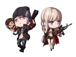 1boy 1girl assault_rifle audrey_(herowarz) beanie blonde_hair blue_eyes boots breasts cellphone character_request chibi cleavage denim gun handgun hat herowarz jeans mac_(herowarz) midriff monkey mulin navel pants phone pistol rifle short_hair silver_eyes silver_hair simple_background smartphone torn_clothes torn_jeans weapon white_background