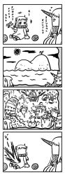 4koma 6+girls ahoge akagi_(kantai_collection) breasts character_request comic commentary_request cooking dress futaba_masumi highres holding horn horns island kaga_(kantai_collection) kantai_collection kongou_(kantai_collection) long_hair mittens monochrome multiple_girls mutsu_(kantai_collection) northern_ocean_hime ocean open_mouth pale_skin peeing peeing_self shigure_(kantai_collection) shinkaisei-kan short_hair simple_background sleeveless sleeveless_dress smile sun translation_request water white_background white_dress white_hair white_skin