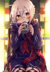 1girl ahoge backlighting black_coat black_legwear blonde_hair blue_skirt blush breath building chair closed_mouth coat coffee_mug cowboy_shot cup drawstring fate/grand_order fate_(series) fingernails fuji_fujino garter_straps hair_between_eyes head_tilt heroine_x heroine_x_(alter) highres holding holding_cup lens_flare light_particles long_sleeves looking_at_viewer neckerchief open_clothes open_coat outdoors plaid plaid_scarf pleated_skirt red_neckerchief red_scarf saber scarf school_uniform serafuku shiny shiny_hair short_hair sitting skirt solo starbucks steam tareme thighhighs winter_clothes winter_coat yellow_eyes zettai_ryouiki