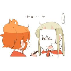... 2girls aquila_(kantai_collection) blonde_hair chibi covered_face graf_zeppelin_(kantai_collection) high_ponytail italian kantai_collection lowres marker multiple_girls no_hat no_headwear orange_hair paper paper_on_head rebecca_(keinelove) sidelocks spoken_ellipsis translation_request twintails