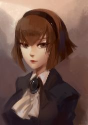 1girl 3four android brown_eyes brown_hair cravat flipped_hair hairband lips r_dorothy_wayneright short_hair solo the_big_o upper_body