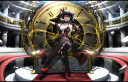 1girl adjusting_hair arm_strap black_hair black_legwear blur bow breasts cleavage clock date_a_live detached_sleeves dress gun hair_ribbon heterochromia highres hk_(hk) holding legs_crossed letterboxed lolita_fashion long_hair looking_at_viewer open_mouth red_eyes ribbon roman_numerals sitting solo thighhighs tokisaki_kurumi twintails weapon yellow_eyes