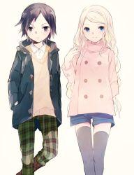1boy 1girl black_hair blonde_hair blue_eyes calme_(pokemon) couple long_hair nintendo pants patterned_legwear plaid pokemon pokemon_xy serena_(pokemon)