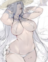 1girl aa_megami-sama breasts curvy dark_skin gtunver hat large_breasts lips long_hair looking_at_viewer navel parted_lips signature sketch smile solo straw_hat urd very_long_hair wide_hips