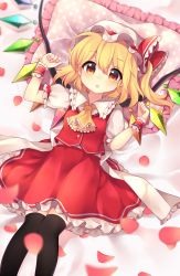 1girl :o ascot bangs bed_sheet black_legwear blonde_hair blush breasts buttons clenched_hands commentary_request crystal eyebrows_visible_through_hair flandre_scarlet frilled_ascot frilled_cuffs frilled_ribbon frilled_shirt_collar frilled_skirt frills from_above hair_between_eyes hat hat_ribbon highres looking_at_viewer lying mob_cap on_back on_bed one_side_up open_mouth orange_eyes petals pillow polka_dot polka_dot_pillow puffy_short_sleeves puffy_sleeves red_ribbon red_skirt red_vest ribbon ruhika shirt short_hair short_sleeves skirt skirt_set small_breasts solo thighhighs touhou vest white_hat white_shirt wings wrist_cuffs yellow_ascot zettai_ryouiki