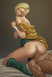 1boy 1girl anus bare_shoulders bianca black_hair blonde_hair braid breasts clothed_female_nude_male cunnilingus dragon_quest dragon_quest_v earrings green_eyes hetero irotsuya jewelry large_breasts long_hair looking_back lying milf muscle nipples no_panties on_back oral pussy sitting sitting_on_face sitting_on_person smile tongue tongue_out