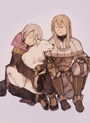 2boys blonde_hair dog eyes_closed fire_emblem fire_emblem:_kakusei henry_(fire_emblem) hug maekakekamen multiple_boys riviera_(fire_emblem) scratching scratching_chin simple_background sitting smile