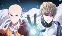 2boys bald brown_hair cape clenched_hand collarbone eunram genos gloves looking_at_viewer multiple_boys one-punch_man red_gloves saitama_(one-punch_man) short_hair