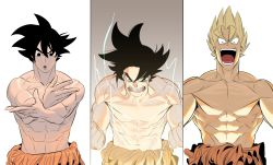 1boy abs bare_chest black_eyes black_hair blonde_hair blue_eyes collarbone cowboy_shot crossed_arms dragon_ball empty_eyes fighting_stance highres looking_at_viewer multiple_views muscle open_mouth screaming shirtless son_gokuu spiked_hair standing super_saiyan teeth topless