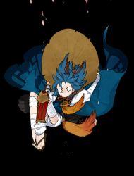 1boy bandage black_background blue_hair hat japanese_clothes kote l_hakase male_focus no_socks sandals sayo_samonji solo touken_ranbu