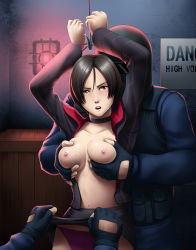 1girl ada_wong areolae arms_up black_hair blush box breast_grab breasts brown_eyes choker fingerless_gloves highres large_breasts looking_at_viewer navel nipples no_bra open_clothes open_mouth panties rape resident_evil resident_evil_6 short_hair skirt skirt_lift standing sweat tears thor_(deep_rising) tied_up underwear