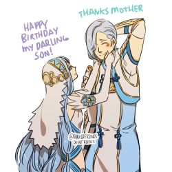 1boy 1girl aqua_(fire_emblem_if) artist_name blue_hair darkgreyclouds dress elbow_gloves english eyes_closed fire_emblem fire_emblem_if gloves hair_over_one_eye hair_tubes hand_behind_head happy_birthday headdress height_difference long_hair lowres mother_and_son shigure_(fire_emblem_if) silver_hair smile very_long_hair white_dress white_gloves