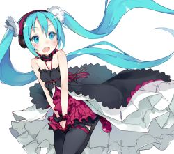 1girl 7th_dragon 7th_dragon_(series) 7th_dragon_2020 7th_dragon_2020-ii aqua_eyes aqua_hair black_legwear dress floating_hair hands_on_lap hatsune_miku headphones kou_mashiro long_hair open_mouth simple_background solo thighhighs twintails very_long_hair vocaloid white_background