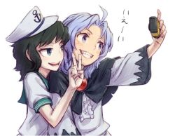 2girls :d ahoge aqua_eyes black_hair blue_eyes blue_hair camera commentary_request frills grin hat hood hood_down kumoi_ichirin meitei multiple_girls murasa_minamitsu open_mouth outstretched_arm sailor sailor_collar sailor_hat self_shot shirt simple_background smile touhou v white_background white_hat white_robe white_shirt wide_sleeves