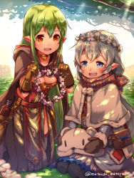 2girls :d animal_hat bag belt blue_bow bottle bow breasts choker cleavage coat collarbone dappled_sunlight flower flower_wreath full_body grass half-closed_eyes hat hat_removed headwear_removed kneeling long_hair long_sleeves mataichi_matarou multiple_girls ole_tower open_mouth outdoors plant pointy_ears pom_pom_(clothes) scarf seiza shade sitting smile sunlight tareme winter_clothes winter_coat