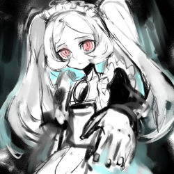 1girl apron bloody_marie_(skullgirls) commentary_request foreshortening hair_ornament hat maid maid_headdress monochrome notoro outstretched_arm red_eyes silver_hair skull skull_hair_ornament skullgirls solo spot_color twintails