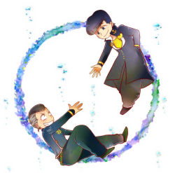 2boys anchor_symbol black_hair blue_eyes dollar_sign facial_mark gakuran grey_hair grin hand_in_pocket heart higashikata_jousuke highres jojo_no_kimyou_na_bouken kazuki_(keepout1003) male_focus multiple_boys nijimura_okuyasu peace_symbol pompadour reaching school_uniform smile