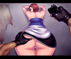 1girl against_wall aiming ass ass_grab back bare_shoulders bent_over blue_eyes brown_hair clothes_around_waist fingerless_gloves gloves gun handgun huge_ass imminent_rape jill_valentine letterboxed looking_back panties pantyshot pencil_skirt pistol pov pov_ass resident_evil resident_evil_3 sawao short_hair skirt solo strapless sweater_around_waist underwear weapon