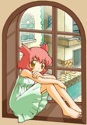 blush brown_eyes dress kanon_(pokemon) latias personification pink_hair pokemon short_hair sitting solo window