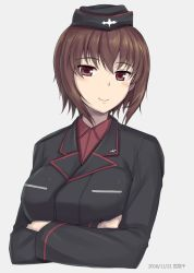 1girl artist_name bangs blush breasts brown_eyes brown_hair closed_mouth collared_shirt crossed_arms dated eyebrows_visible_through_hair garrison_cap girls_und_panzer grey_background hair_between_eyes hat large_breasts looking_at_viewer military military_uniform miyai_max nishizumi_maho red_shirt shirt short_hair simple_background smile solo uniform upper_body watermark