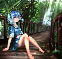1girl bare_legs barefoot blue_eyes blue_hair bridge chikawa_shibainu hair_bobbles hair_ornament kawashiro_nitori light_rays looking_at_viewer midriff navel no_hat outdoors reflection shadow short_hair sitting skirt skirt_set sleeves_rolled_up solo sunbeam sunlight touhou tree twintails water waterfall