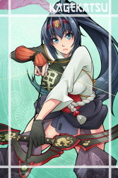 >:( 1girl arrow black_gloves blue_eyes blue_hair bow_(weapon) breasts gloves hairband hyakka_ryouran_samurai_girls japanese_clothes long_hair looking_at_viewer matching_hair/eyes muneate ponytail single_glove solo uesugi_kagekatsu weapon x-teal2