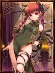 1girl animal_ears bare_shoulders bow braid breasts cat_ears cat_tail chinese_clothes detached_sleeves dress fang floral_print green_dress hair_bow hair_ornament jpeg_artifacts kaenbyou_rin leg_ribbon lips long_hair long_sleeves looking_at_viewer medium_breasts moneti_(daifuku) multiple_tails red_eyes red_hair skull smile solo tail touhou turtleneck twin_braids
