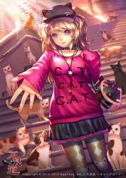 1girl animal_hat bag blonde_hair cat cat_hat cleavage_cutout clothes_writing collar furyou_michi_~gang_road~ handbag hat jewelry necklace pantyhose patterned_legwear paw_print pink_eyes print_legwear shadowgrave skirt solo spiked_collar spikes stairs standing too_many_cats