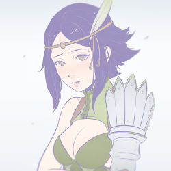 1girl artist_name black_hair breasts cleavage expressionless female fire_emblem fire_emblem:_kakusei koyorin looking_at_viewer noire_(fire_emblem) pale_color parted_lips pink_lips short_hair simple_background solo watermark web_address white_background