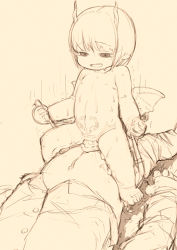 1boy 1girl age_difference barefoot blush cum cum_in_pussy cumdrip feet feral_lemma flat_chest girl_on_top head_out_of_frame hetero horns loli monochrome monster_girl nude riding sex short sketch succubus tagme vaginal wings