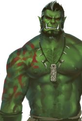 amulet angry bara beard bodypaint chest_hair dopey facial_hair green_skin green_skirt highres jewelry male male_focus monster_boy multicolored_hair muscle necklace nipples orc pectorals red_eyes scowl shirtless short_hair simple_background skirt solo teeth the_elder_scrolls the_elder_scrolls_v:_skyrim two-tone_hair very_short_hair