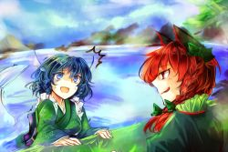 2girls animal_ears blue_eyes blue_hair blue_sky bow breasts cat_ears fish_tail hair_bow in_water japanese_clothes kaenbyou_rin kimono kozuki_kai lake licking_lips long_hair long_sleeves looking_at_another mermaid monster_girl mountain multiple_girls red_eyes red_hair scared sketch sky smile sweatdrop touhou tree twintails wakasagihime wide_sleeves