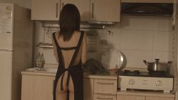 1girl animated animated_gif apron asian ass flat_chest from_behind kitchen knife looking_at_viewer looking_back naked_apron no_panties photo standing